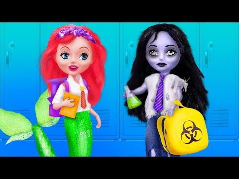 Nàng Tiên Cá vs Zombie Ở Trường Học / Tự Làm 10 Đồ Dùng Học Tập và Đồ Lưu Niệm Với Barbie