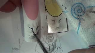 Рисуем белую кошку акварелью на ногтях/Painting the nails from Anna Kuzubova ,watercolor cat