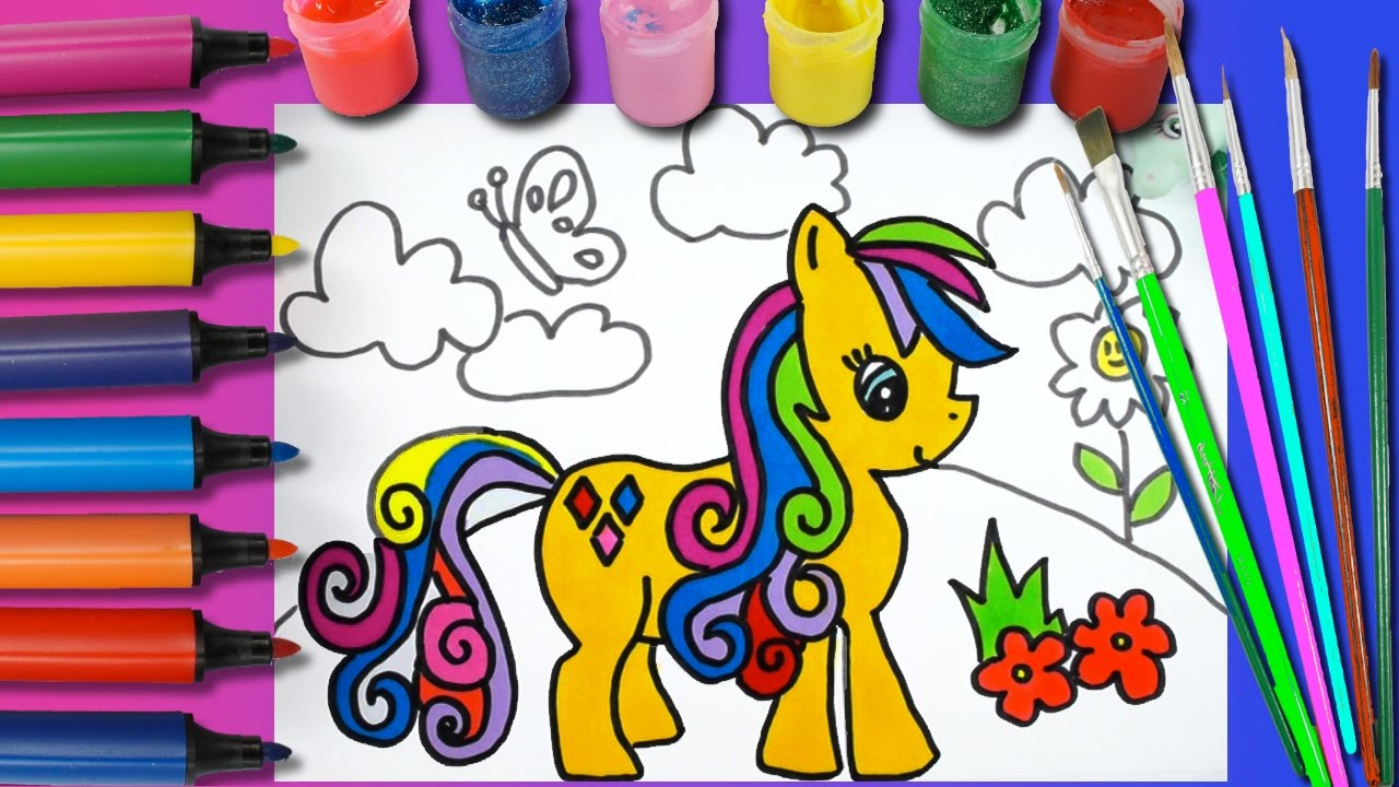 Horse Coloring Page For Kids Learning Colors Drawing