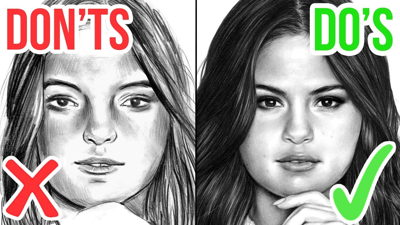 Dos ts how to draw a face realistic drawing tutorial step by step