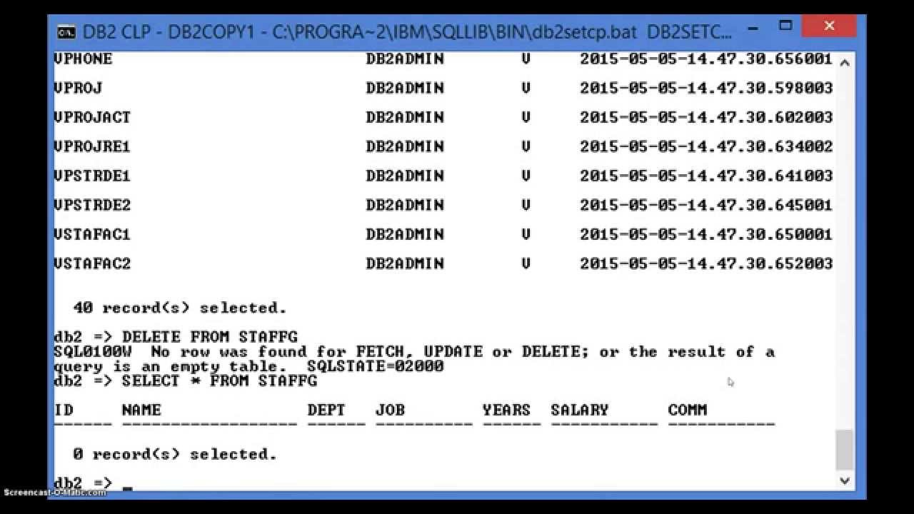 DB2 COMMAND LINE PROCESSOR - STAGE3 PART I