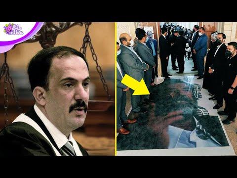 صدام حسين تحت الاقدام في عزاء قاضى محاكمته بعد موته