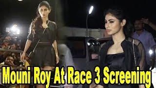 Naagin's Mouni Roy In Short Black Dress At Race 3 Movie Screening   Salman Khan's Film
