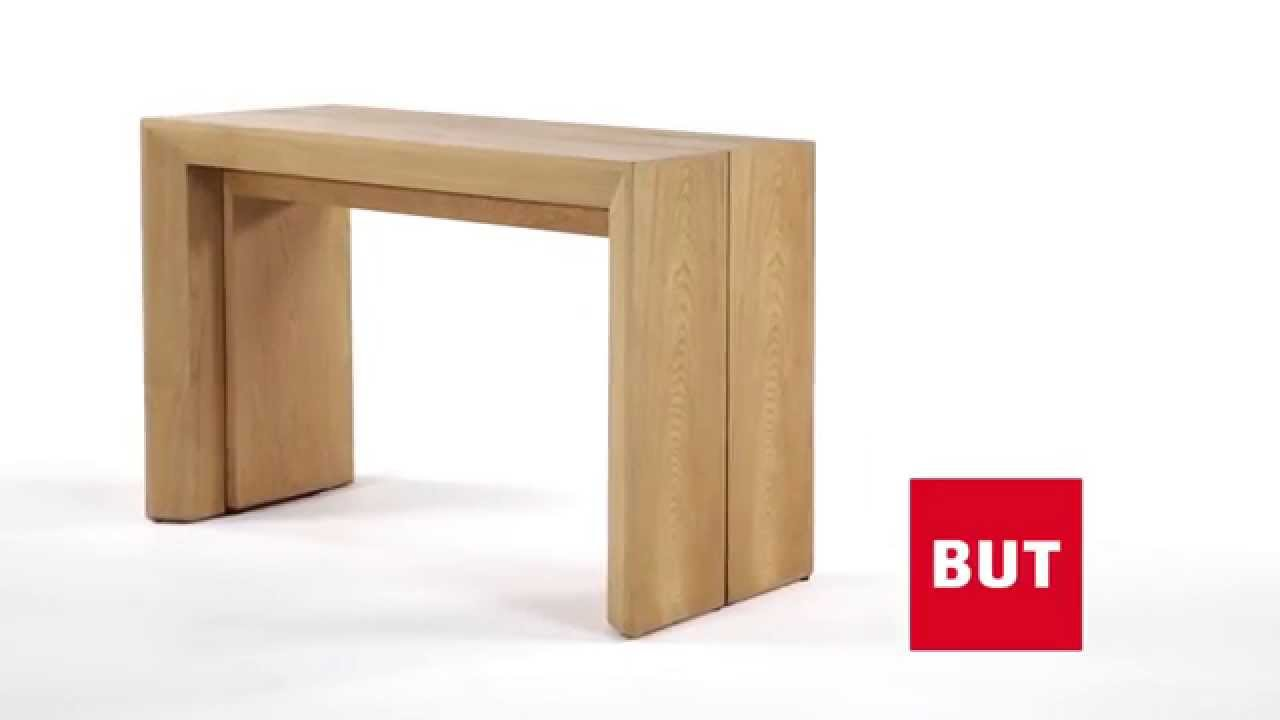 Console extensible xxl couleur bois nature but youtube for Table a manger bois blanc