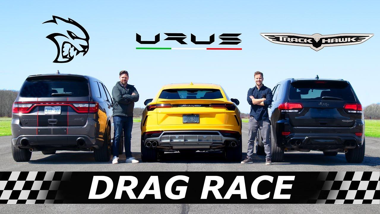 Dodge Durango Hellcat vs Lamborghini Urus vs Jeep Trackhawk // DRAG & ROLL RACE