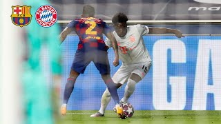 Alphonso davies did an incredible performance against barcelona. in minute 63, phonzie dribbled by lionel messi and arturo vidal first, before he pass...
