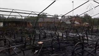 Осмотр сгоревшего детского лагеря в Хабаровском крае