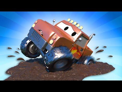 Эвакуатор Том - Марли на гонке застрял в грязи! - Автомобильный Город  🚗 детский мультфильм