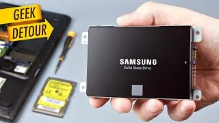 Old Laptop SSD Upgrade: how to install Samsung 850 EVO SSD; unboxing, migration & review; SSD vs HDD