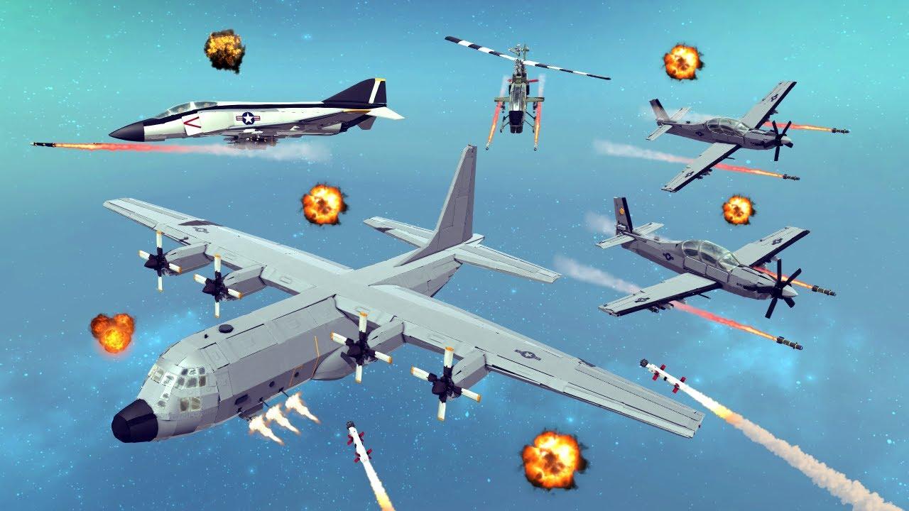 Air vs Ground Combat #11 | Feat. AC-130 Spectre Gunship | Besiege