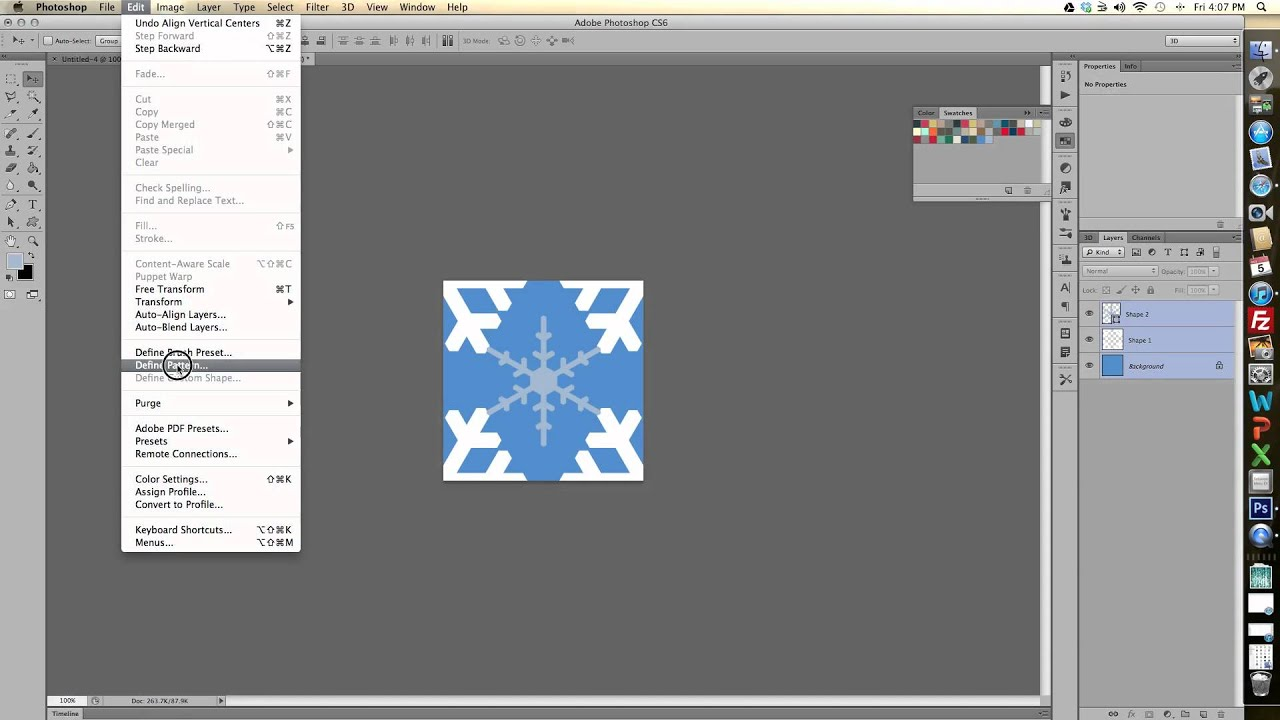 How To Create A Pattern In Photoshop Cs6 Youtube