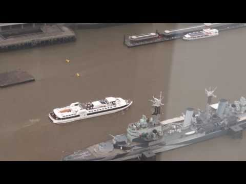 Large boat near HMS Belfast viewed from the Shard