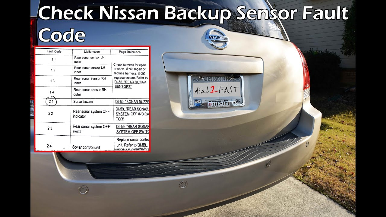 Check Nissan Reverse Backup Sensor Fault Code 2004 2009 Part 1 Infiniti Fx35 Fuse Box Location