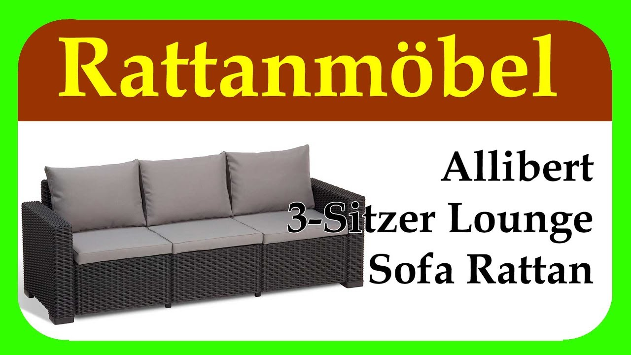 allibert 3 sitzer lounge sofa rattan kleines relaxsofa. Black Bedroom Furniture Sets. Home Design Ideas