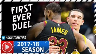 LeBron James vs Lonzo Ball FIRST Duel Highlights 20171214 Lakers vs Cavaliers - SICK