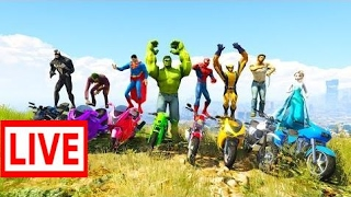 LEARN Color Motorcycles Jump from MOUNTAIN! Funny superhero cartoon for kids #KAK