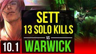 SETT vs WARWICK (TOP) | 5 early solo kills, 13 solo kills, KDA 19/3/7 | EUW Diamond | v10.1