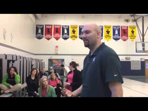 Michigan State's Anthony Ianni meets with Knapp Charter Academy students