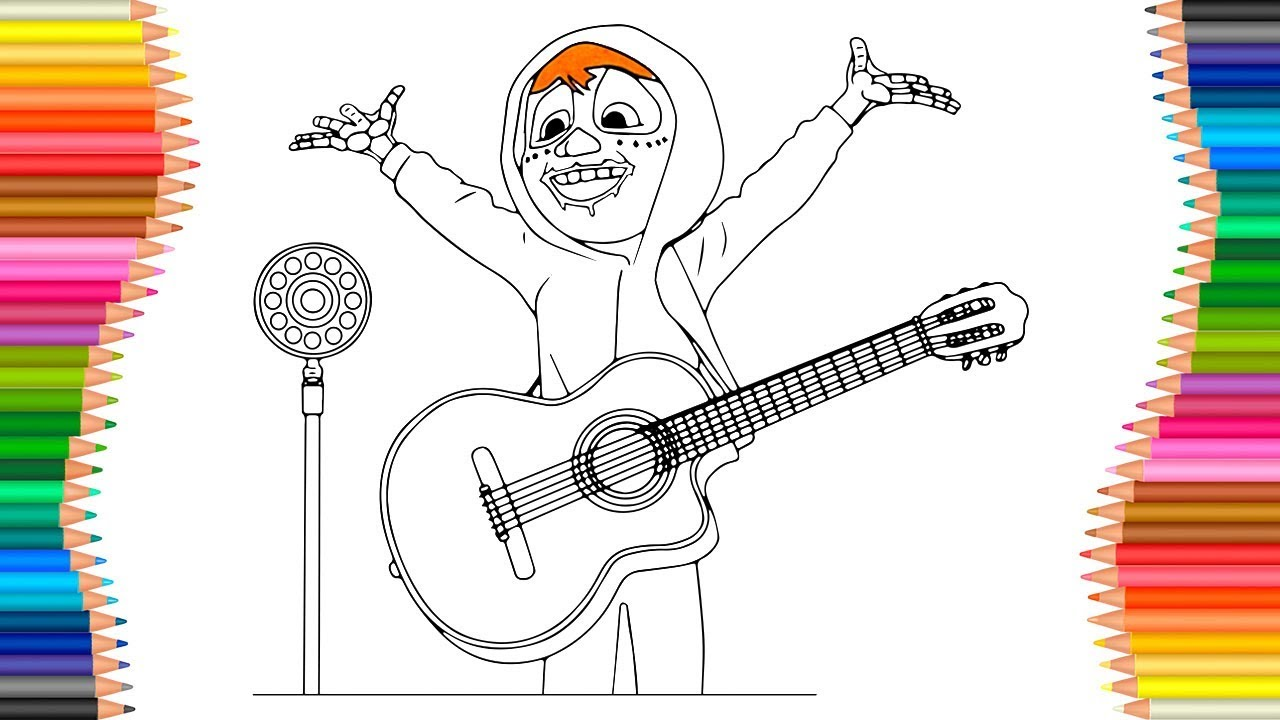 How To Draw Coco Miguel Singing A Song Cartoon Coloring Pages