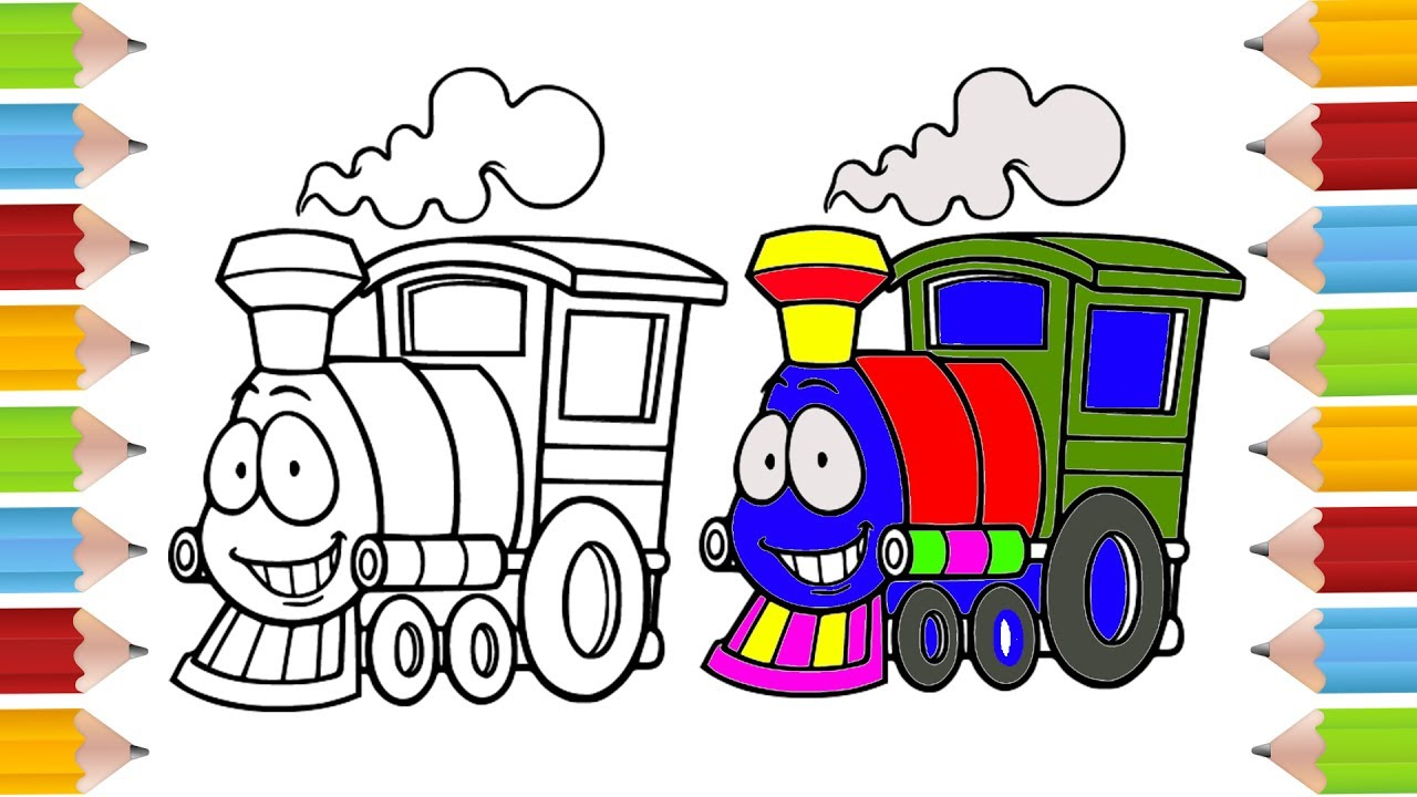 how to draw train coloring pages for kid drawing for children