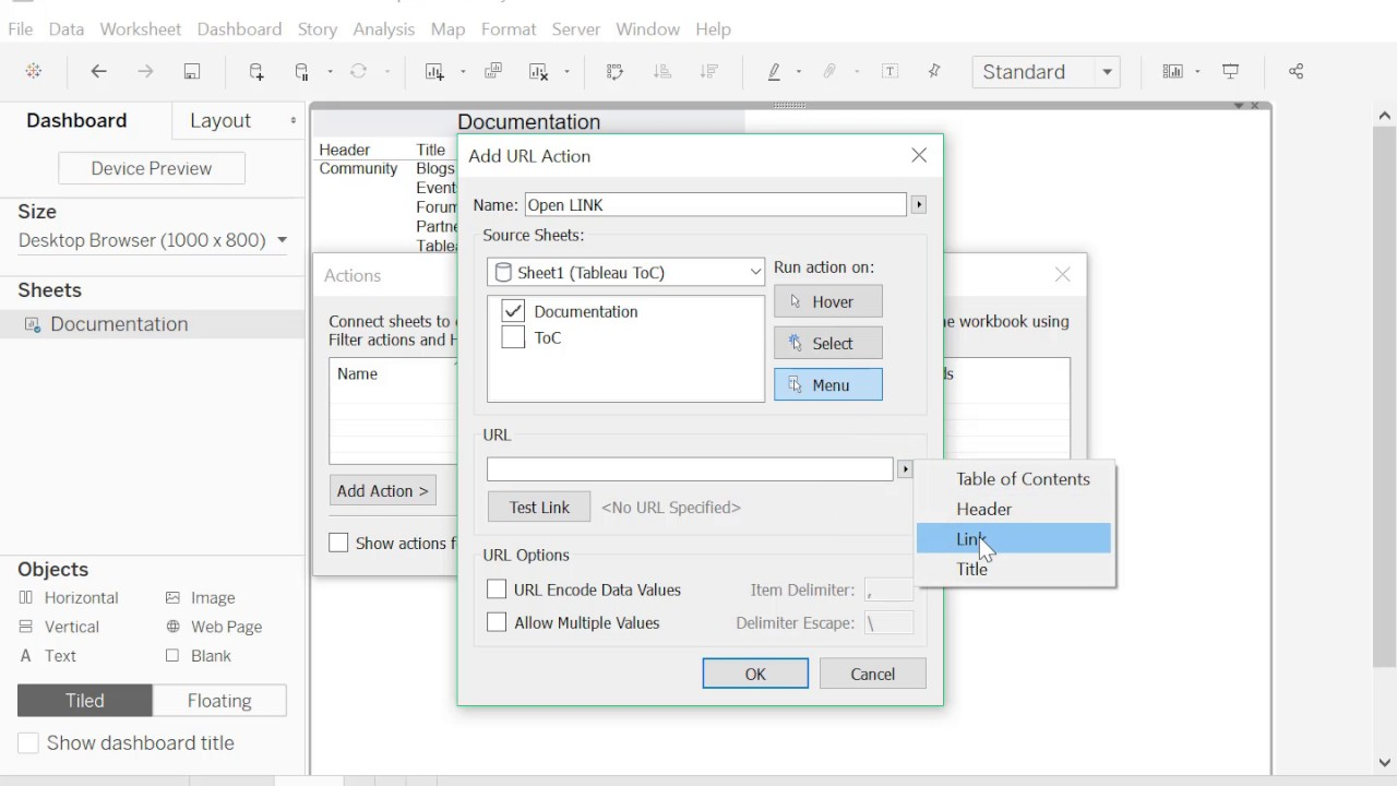 How to create a Table of Contents to navigate to other dashboards in Tableau