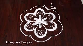 simple and easy rangoli kolam design with 5x3 dots * small daily kolams * latest muggulu
