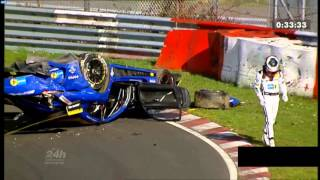 24h Nürburgring Qualifying Race  - Crash Mercedes AMG GT3 2016 Hohenrainschikane