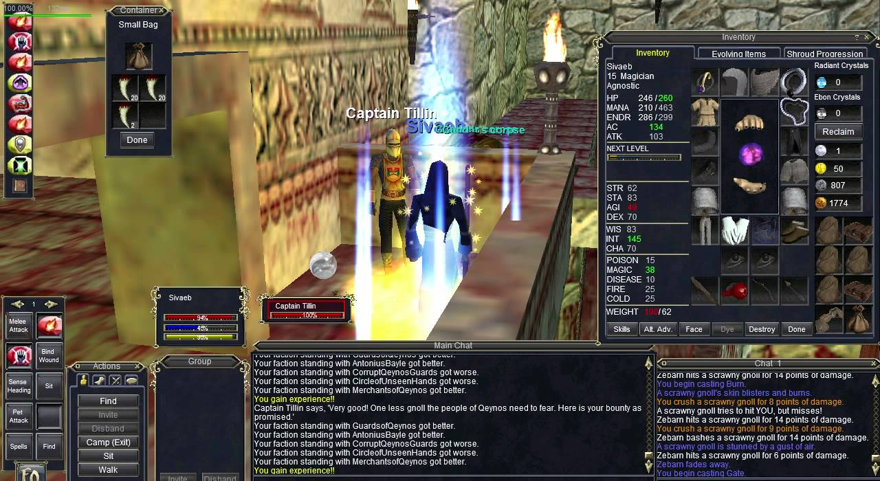 EverQuest Classic - Crazy Gnoll Fang XP!!! Project 1999 - Ding!! 15 and  16!!!