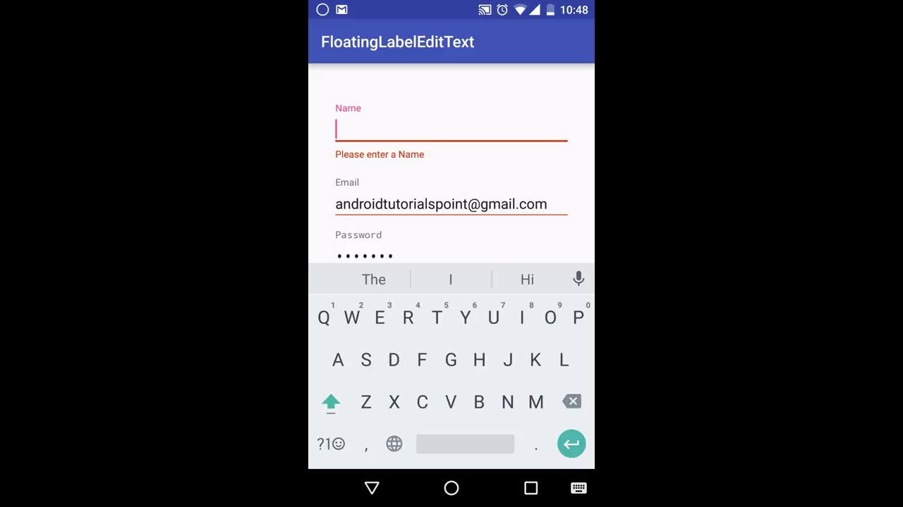 Android Material Design : Working with Floating Label EditText
