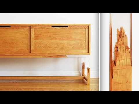 Splintered Floating Leg TV Stand Made out of Wood and Epoxy