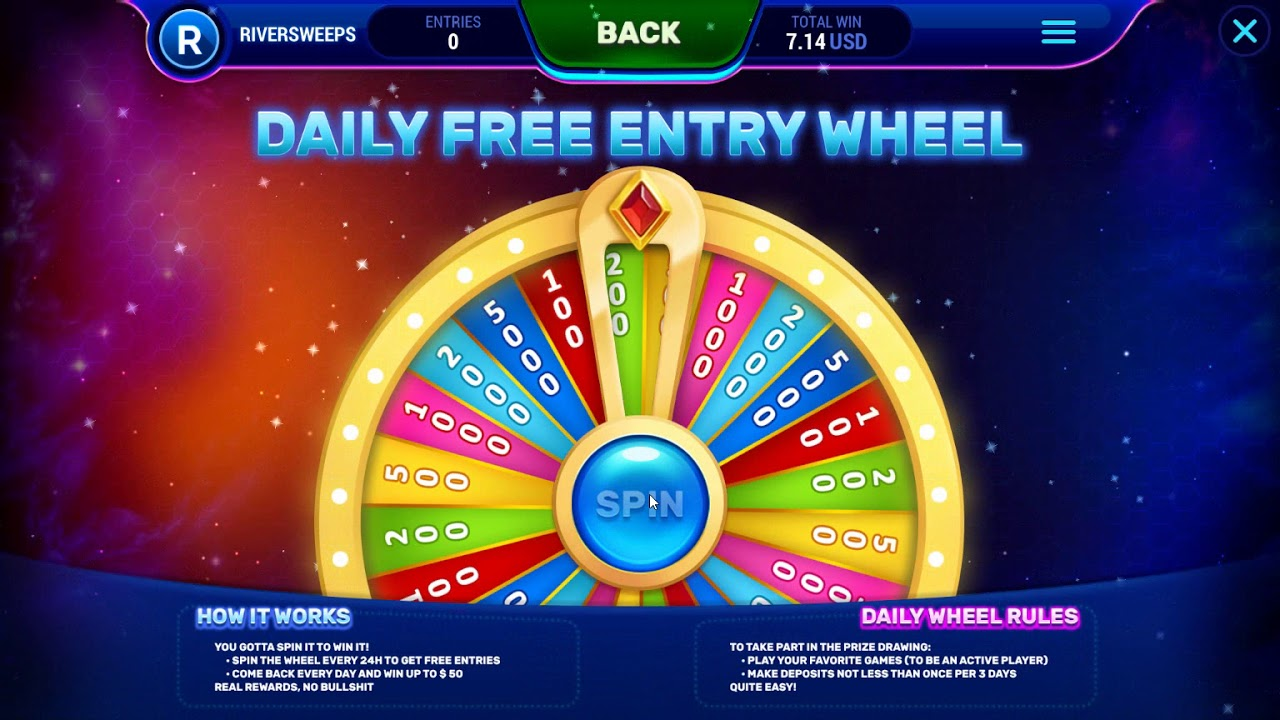 RiverSweeps Daily Wheel: be active every 24 hours and get FREE entries to  play