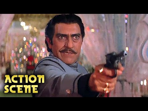 Amrish Puri KILLS Anupam Kher | Action Scene | Aaj Ka Arjun | Amitabh Bachchan, Jaya Prada | HD