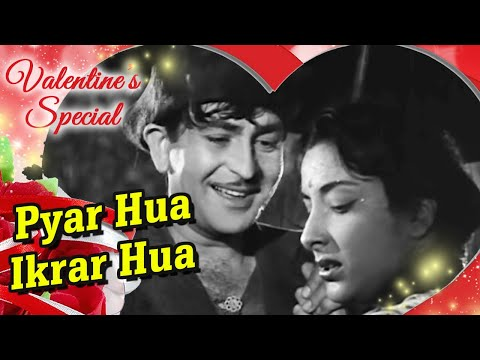 Pyar Hua Ikraar Hua  Raj Kapoor & Nargis  Shree 420  Bollywood Evergreen Songs  Manna Dey & Lata