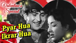 pyar hua ikraar hua raj kapoor nargis shree 420 bollywood evergreen songs manna dey lata