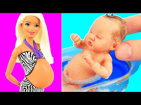 5 MINUTE DIY CRAFTS FOR BARBIE! Pregnant Doll, hat, pencil case, clothes, and more