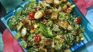 Fresh Garden Salad With Croutons- Kavita The Chef