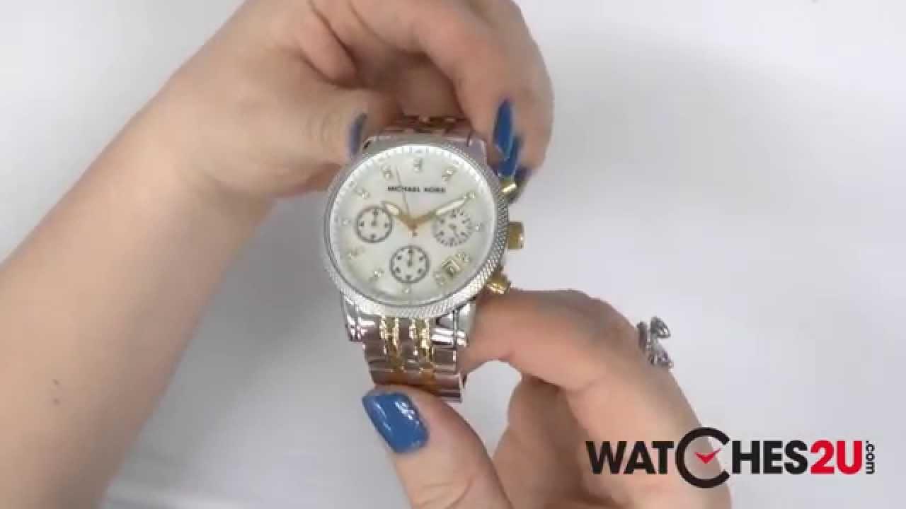 114647cbd MK5057 Michael Kors Ladies Two Tone Chronograph Watch - YouTube