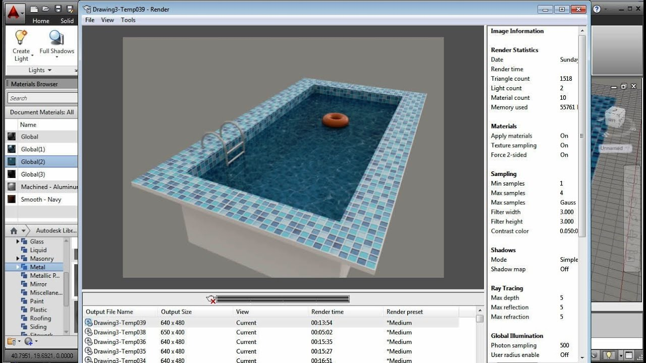 AutoCAD Swimming Pool Water Effect   YouTube