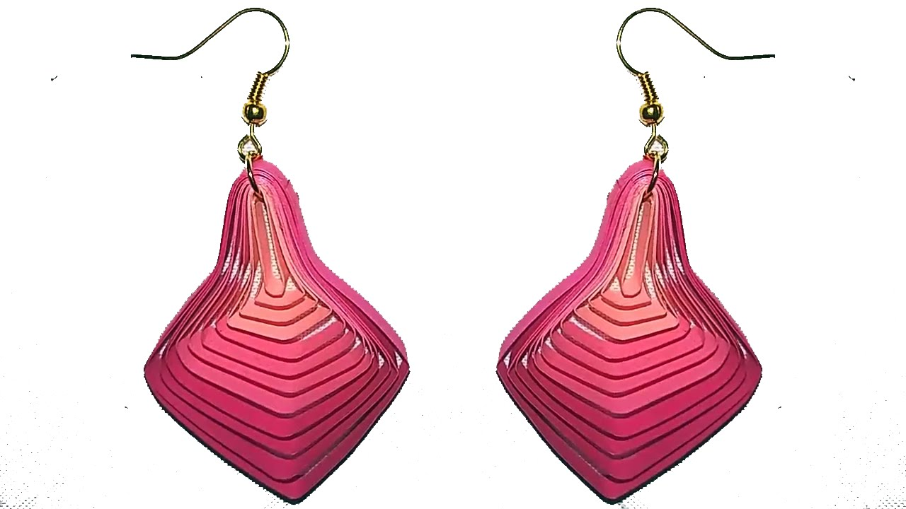 Papercraft Quilling earrings New Quilling paper earrings making tutorial