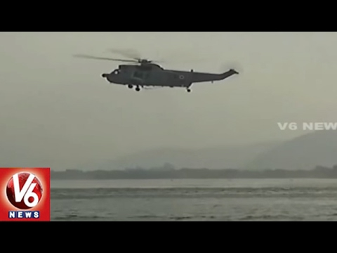 People Throng To Watch Indian Navy Acrobatics In Krishna River | Vijayawada | V6 News