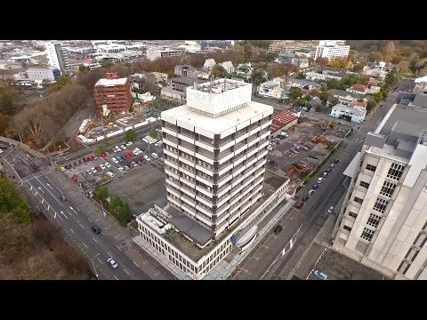 Live:  Old ChCh Police Station Building Implosion