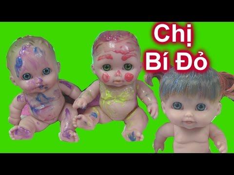 3 Chị Em Búp Bê Em Bé Chơi Tô Màu Nước Vui Nhộn (Bí Đỏ) 3 Baby Dolls Play Bath Paint Doc Micstuffins