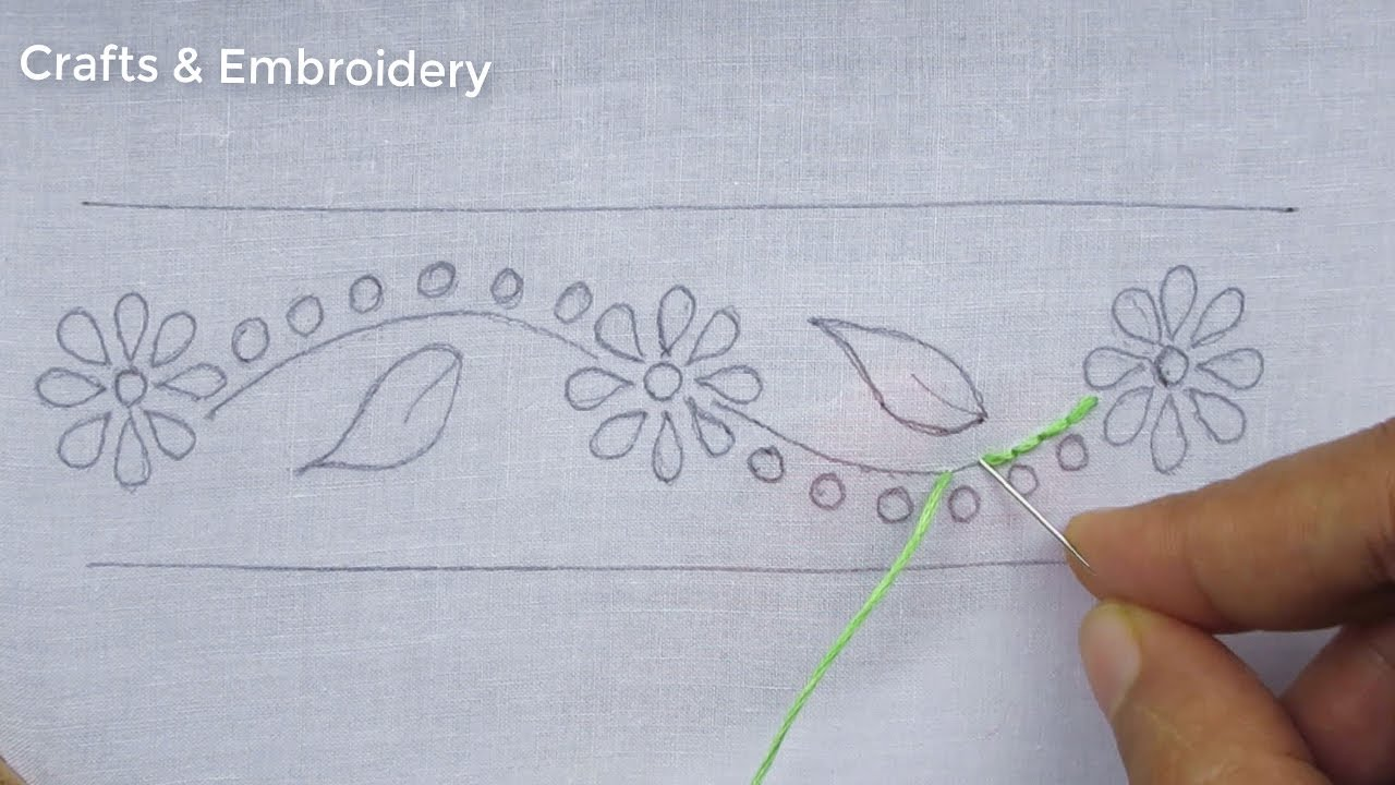Hand Embroidery Latest Border Line Embroidery Tutorial, Easy Border Line Design For Dresses