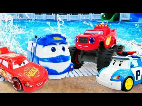 Машинки ваквапарке— Игры смашинками— Молния Маквин, Робокар Поли, Вспыш идрузья вбассейне!