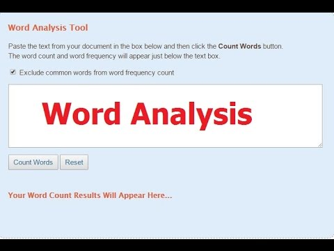 How to - Online word counter, Word Analysis, Frequency of Words