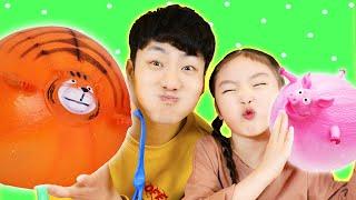 우와!! 풍선이다!! 재밌는 동물 풍선놀이 컬러송 Learn Colors with Balloons toy | The Colors Song - 마슈토이 Mashu ToysReview