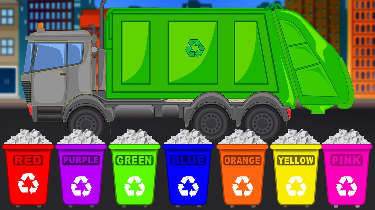 Learn Colours with Garbage Trucks   Learn Colors for ...