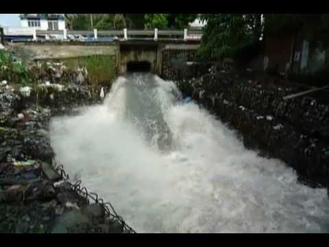 Lưu lượng nước mưa cùng nước ô nhiễm tại kênh Ba Bò