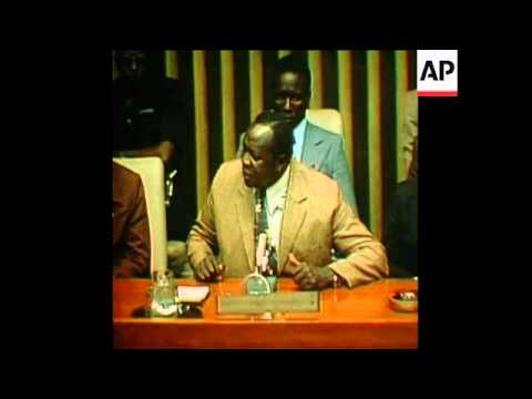 SYND 3 10 75 IDI AMIN SPEAKS TO THE UNITED NATIONS ABOUT ISRAEL