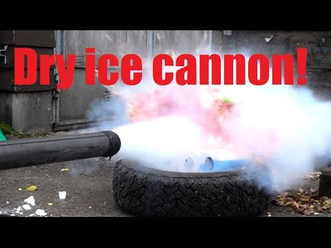 Shooting dry ice with air cannon